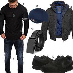 Lässiger Herren-Look in Schwarz und Dunkelblau (m0854) #outfit #style #herrenmode #männermode #fashion #menswear #herren #männer #mode #menstyle #mensfashion #menswear #inspiration #cloth #ootd #herrenoutfit #männeroutfit