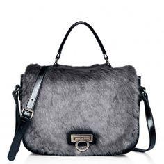 Desire Forest Fox Fur Leather Satchel in Grey