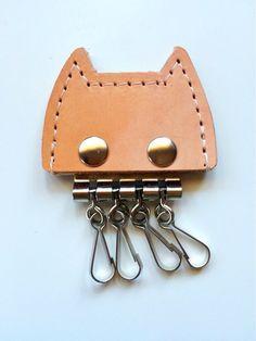 ☆一点物☆本革の猫型4連キーホルダー(ナチュラルヌメ×グレー)