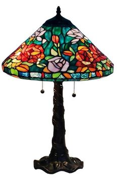 Warm hues of sunlight radiate over rich, blooming roses on this graceful traditional Tiffany-style Amora Lighting table lamp. The beautiful rose design is crafted with 408 pieces of stained glass and 24 glass pearls, creating a dazzling overall effect. Custom Stained Glass, Stained Glass Lamps, Fused Glass, Style Rose, Tiffany Style Table Lamps, Lamp Design, Design Table, Rose Design, Pendant Lamp