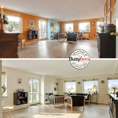 Living room gets a new coat of paint in a more neutral tone and is staged for sales by Busy Bees. Before and after.