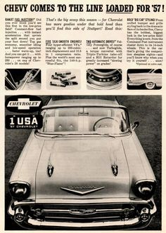 Best classic cars and more! Old Advertisements, Car Advertising, Bel Air Car, Chevrolet Bel Air, Old Ads, Fuel Injection, Vintage Ads, Vintage Photos, Retro