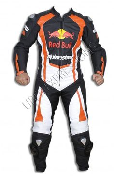 Red Bull and Alpinestars Motorbike Racing Leather Suit Made up of genuine cwhide upto 1.33 mm thick leather Stretchable, soft & lightweight Made with biker's safety standards CE approved removable armor protections at back, elbow & shoulders Zips on jacket sleeves Logos and badges are in leather Original heavy duty YKK zips 100% water resistant & wind proof Suitable for all weather conditions Custom sizes available (additional charges apply) Mesh lining inside