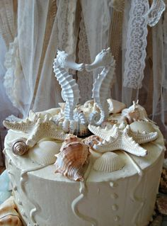 Seahorse-beach themed-wedding cake by MorganTheCreator on Etsy