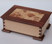 Dovetailed box with burl panel lid