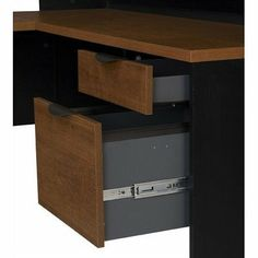 "Innova L-shaped desk in Tuscany Brown Black [Kitchen] MPN: 92420-63 by Bestar. $634.05. Pull-out keyboard tray on ball-bearing slides. Overhead hutch with cabinet doors and multiple storage compartments. Tuscany Brown & Black finish. L-shaped desk with easy-access keyboard tray cut-out. The Innova Collection is perfect for your home office space. With woden finishes and cut out details the Innova items have a charming country look. The worksurfaces are made of 1"" ..."