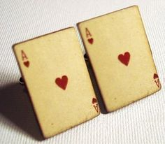 "Ace of hearts vintage style wood playing cards on silver toned cufflinks. All face cards and aces are available. These are a great gift for that special card player. Comes in simple gift box. Measures 1"" x 5/8"".     <<<<<<<<<<<< PAYMENT POLICY >>>>>>>>>>>>>>>>>>&a..."