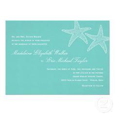 Shop Starfish Wedding Invitation - Blue created by berryberrysweet. Beach Theme Wedding Invitations, Affordable Wedding Invitations, Beautiful Wedding Invitations, Wedding Programs, Custom Invitations, Invitation Ideas, Invites, Invitation Cards, Wedding Venues