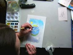 Simple Watercolour Video -   The artist uses mask.  You will see him rub off the mask part way through.  Interesting showing of the wash technique.   The artist finishes it with an ink outline.   A technique that can be used to emphasize a painting.