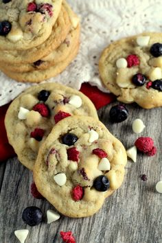 White chocolate chips, raspberries and blueberries make these Red White and Blueberry Cookies a fun, patriotic treat for the 4th of July.