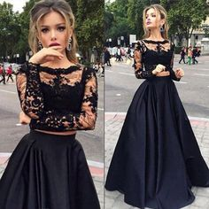 Lace Top Long Sleeve Prom Dress