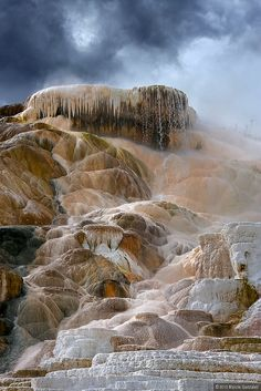 Yellowstone and Grand Tetons (by Marcie Gonzalez)  Mammoth Hot Springs Geyser,