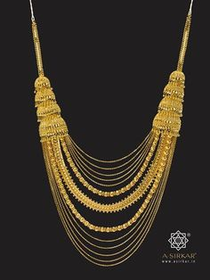 """Festival Necklace: A glorious cascade necklace with thirteen differentiated rows of chains (signifying the """"Tero Parbon"""", or thirteen festivals, of the Bengalis) that are detachable in parts and can be worn separately as three individual neck-pieces. The jhumka steps also hide a link that enables the whole ornament to become smaller so that it can be worn close around the neck."""