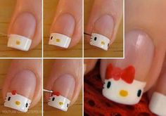 ❀ Ongles hello kitty ❀ Plus Nails For Kids, Girls Nails, Nail Art Diy, Cool Nail Art, Ongles Hello Kitty, Love Nails, Pretty Nails, Nail Diamond, Cat Nails