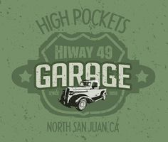 PERSONALIZED Highway GARAGE T-Shirts. Send me your NAME or BUSINESS, TOWN, STATE and YEAR and COLOR. I will set up art for YOU! You will receive a proof and a link to my store for purchase. marko@digitalhotrod.com