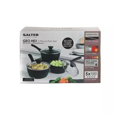 Buy Salter Geo Hex 3 Piece Aluminum Saucepan Set - Black   Pan sets   Argos Black Toaster, Pan Set, Argos, Wok, 3 Piece, Cleaning, Cooking, Kitchen, Home Cleaning