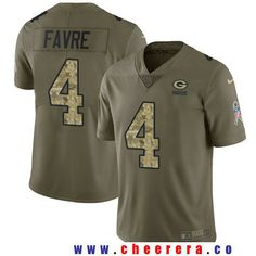 Men's Green Bay Packers #4 Brett Favre Olive with Camo 2017 Salute To Service Stitched NFL Nike Limited Jersey