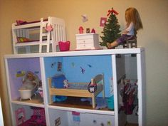 Another Upcycled Doll House for 18″ Dolls using an old entertainment center