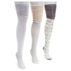 Muk Luks Women's 3 Pair Pack Microfiber Over the Knee Socks - Grey One Size Fits Most