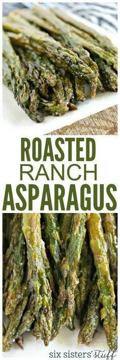 Healthy Roasted Ranch Asparagus recipe from sixsistersstuff.com | Veggie Recipes | Side Dishes