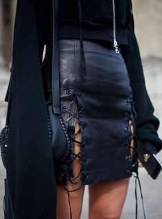 all black everything and a skirt with lace up details to buy for 25 dollars