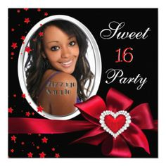 Red Sweet 16 Birthday Party Heart Photo Silver Announcements