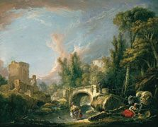 François Boucher  River Landscape with Ruin and Bridge1762 Oil on canvas. 58.5 x 72 cm  Carmen Thyssen-Bornemisza Collection on deposit at Museo Thyssen-Bornemisza, MADRID