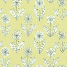 Florette Acid Drop (0271FLACIDD) - Little Greene Wallpapers - Based on an original 1954 design, a striking light hearted floral motif design with single flowers drawn in black white set on a soft lime green background.  Available in other colours. Please request sample for true colour match.