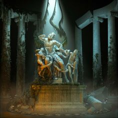 """Classical sculpture and scenery render """"The Discovery of Laocoon"""" by Matt Webb"""