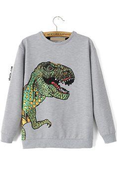 Dinosaur Patterned Print Loose Sweatshirt