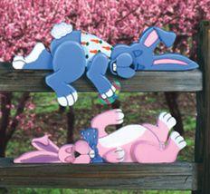 Set of 2, Sleepy Bunnies Fence/Shelf Decoration #Easter