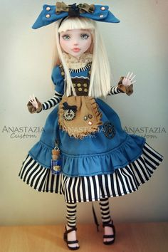 YES, YES, YES!!! NO TEARS SMALLER BLACK VELVET BOW,  APRON, WRONG, LONGER HAIR C BLE BOOTS, CHATALAINE WITH KEY, BOTTLE, WATCH