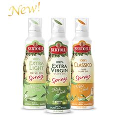 NEW! These propellant-free oils are convenient and easy to use. Best of all, each spray is 100% olive oil, every time. Right out of the bottle.