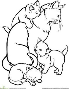Worksheets: Color the Mommy Cat and Kittens  Make your world more colorful with free printable coloring pages from italks. Our free coloring pages for adults and kids.