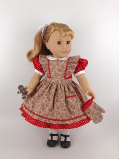 Dress, Apron/Pinafore, & Oven Mitt for American Girl Doll Ag Dolls, Girl Dolls, Doll Clothes Patterns, Clothing Patterns, Pinafore Apron, American Doll Clothes, Red Felt, Handmade Dresses, Couture