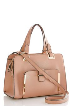 Bag a luxe look in this structured satchel bag, featuring a textured faux leather fabrication and finished with gold hardware that's bound to make a statement. Wear as a crossbody for a versatile approach. 12.5 in. width, 9 in. height, 6 in. depth 6 in. strap drop Adjustable/removable shoulder strap Zipper closure Man made materials Imported