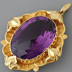 Antique Victorian Amethyst Gold Pendant and Pin