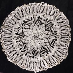 Vintage Crocheted Knit Snowflake Doily Cream Delicate Design 21""
