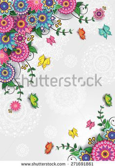 Geometric floral background with butterflies-transparency blending effects and gradient mesh-EPS 10