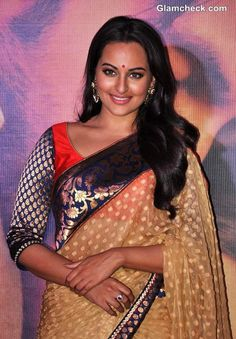 Sonakshi Sinha in Saree with brocade border & choli sleeve promoting her film 'Lootera' in 2013