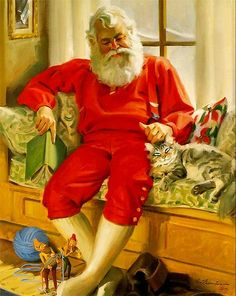 Jultomten älskar också katter/Santa too love cats Christmas Scenes, Father Christmas, Santa Christmas, Christmas Mantles, Christmas Villages, Christmas Greetings, White Christmas, Christmas Ornaments, Images Vintage