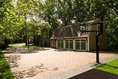 Paver Basketball Court and Driveway Backyard Sports, Backyard Basketball, Outdoor Spaces, Outdoor Living, Outdoor Decor, Outdoor Basketball Court, Basketball Tricks, Buy Basketball, Backyard Playground