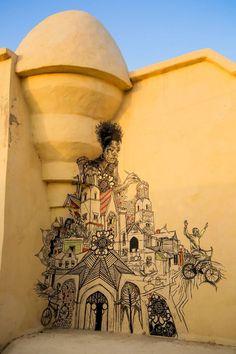 Piece in Tunisia for the Djerbahood project. Graffiti Art, Street Art, Urban Art Let's Graffiti Art, Murals Street Art, 3d Street Art, Urban Street Art, Amazing Street Art, Mural Art, Street Artists, Amazing Art, Graffiti Piece