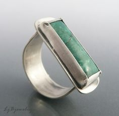 Ring Turquoise Stone Sterling Silver Size 8 by @LjBjewelry on Etsy, $68.00