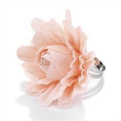 PEACH FABRIC FLOWER LADIES FASHION ADJUSTABLE RING - Silver Rings - Costume Jewellery Rings - Jewellery