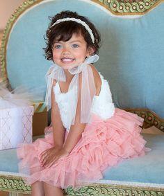 Look at this #zulilyfind! White & Dusty Rose Layered Dress - Infant, Toddlers & Girls #zulilyfinds