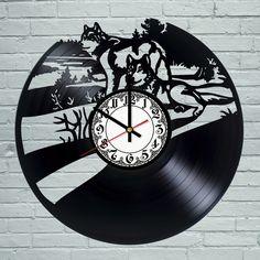 Wolf Animal Vintage Retro Men BLACK Vinyl Record Wall Clock Art Design Gift Baby