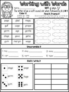 FREEBIE - Hard and Soft C and G {Interactive Word Work}