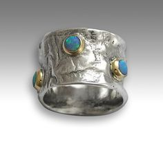 Sterling silver ring wide band silver gold ring by artisanlook