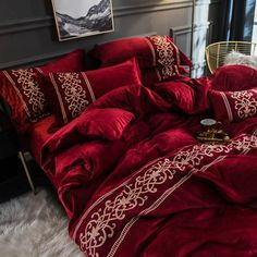 Duvet Bedding Sets, Grey Bedding, Luxury Bedding, Comforters, Bedding Decor, Room Decor, Winter Bedroom, Winter Bedding, Cozy Bedroom